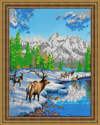 «Диамант» набор со стразами ДК-361 «Олени зимой» 3628,8см (1шт) цвет:ДК-361