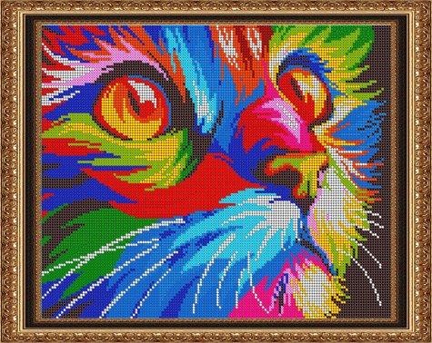 «Диамант» набор со стразами ДК-518П «Радужный котик» 3830см (1шт) цвет:ДК-518П
